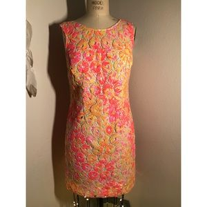 Lilly Pulitzer orange and yellow lace dress